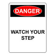 Danger Watch Your Step Sign, Aluminum Metal Safety Warning Uv Print Signs