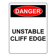 Danger Unstable Cliff Edge Sign, Aluminum Metal Safety Warning Uv Print Signs