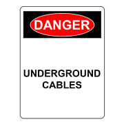 Danger Underground Cables Sign, Aluminum Metal Safety Warning Uv Print Signs