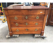 Empire Dresser In Walnut With 4 Drawers. Healthy And Well Preserved. Period 1800