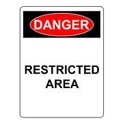 Danger Restricted Area Sign, Aluminum Metal Safety And Security Warning Uv Signs