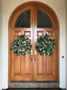 Round Top Solid Mahogany Double Entry Doors With Decorative Leaded Glass Design