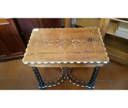 Coffee Table With Twisted Legs With Fine Mahogany Inlays On The Work Surface