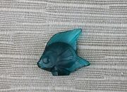 Antique R. Lalique Dark Green Teal Poisson Fish Frosted Seal Block Signed