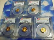 2009 1/10 Oz American Gold Eagle 5 Pcgs Ms70 First Strike - Free Usa Shipping