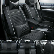 Car Seat Cover Pu Leather Front And Rear 5-seats Auto Size L W/neck Lumbar Pillow