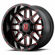 Xd Series Xd820 Grenade 20x10 5x127 Et-24 Black Milled/red Clear Coat Qty Of 4