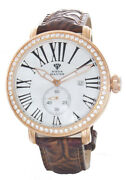 Aqua Master Menand039s White Mop Dial Gold Diamond Case Leather Band Watch W203