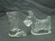 2 Antique Clear Pressed Glass Candy Containers Scotty Dog Boot
