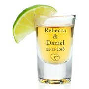 Personalised Wedding Gift Shot Glass Engagement Anniversary 28ml Toast Favours