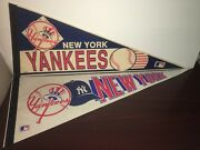 Two 1980s 1990s Wincraft New York Yankees Full Size Team Pennants - Lot Of 2