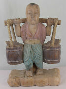 Huge Hand Carved Wooden Chinese Man With Buckets Of Turtles - 20 Tall