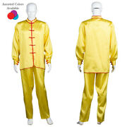 18 Colors Men's Chinese Traditional Kung Fu Satin Uniform Arts Cosplay Costume