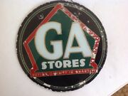 Ga Stores Vintage Reverse On Glass Advertising Sign