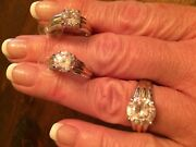 Suzanne Somers Solitaire Ring Size 10 And Matching Earrings W/gold Highlights