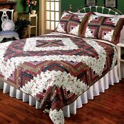 3pc Log Cabin Patchwork Queen Bed Quilt Set/bedding Package