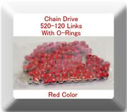 With O-ring Drive Chain Red Color 520-120 Atv Motorcycle 520 Pitch 120 Links