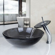 Us Bathroom Artistic Glass Vessel Sink Waterfall Faucet With Pop-up Drain Combo