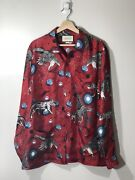 Menandrsquos Space Animals Red Silk Twill Long Sleeve Button Down Shirt Size 50