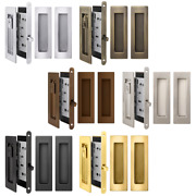 Privacy Lock And Pull Handles Set For Recessed Pocket Sliding And Barn Double Doors