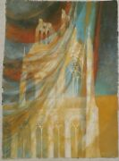 Windswept Cathedral Casein 31 X 23 Painting-1970s-william Gorman
