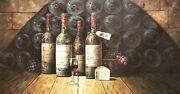 Classic Style Wine Cellar - 3 24x48 100 Hand Painted Oil Painting On Canvas
