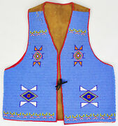 Vintage Beaded Sioux Tribe Vest Clothing Suede Blue Handmade Hand Sewn