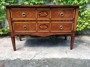Small Louis Xvi Inlaid Chest Of Drawers With 2 Drawers - Restored In Progress