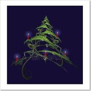 Christmas Tree Decorated With Candles Art Print Home Decor Wall Art Poster - H