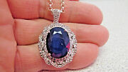 Large Blue And White Sapphire Pendant On Sterling Necklace With Papers Make Offer