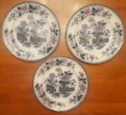 Hand Painted Set Of 3 Casket Japan China 10-1/2 Dinner Plates