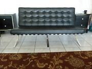 Mid - Century Barcelona Style Sofa In Black Leather Vintage In Excellent Conitio