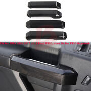 Black Wood Car Interior Decor Door Handle Cover Trim For Ford F150 2015-2018 Abs