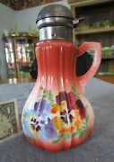 Antique Victorian Hand Painted Floral Vertical Rib Syrup/molasses Pitcher