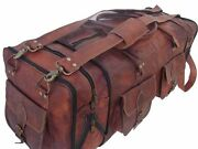 30 Large Brown Vintage Genuine Leather Goathide Travel Luggage Duffle Gym Bags