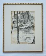 Ronald Mallory Ny Ca B. 1939 Ink On Paper Nyc Central Park Scene , 1960's
