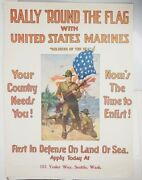 Rare Wwi Original 1916 Recruitment Poster Rally And039round The Flag Large 29.5 X 40