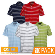 10 X Adults Modern Fit Cotton Striped Office Golf Casual Breathable Polo Shirts