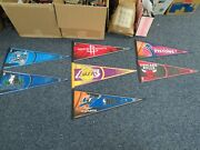Lot Of Seven 7 Nba Wincraft Banner Pennants 30 X 12 Excellent Condition