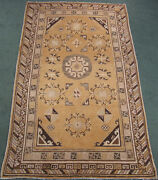 Antique Khotan Rug Chinese Turkestan Central Asia Golden Yellow With Pink 5x9 Ft