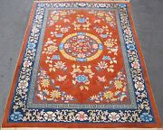 Old Art Deco Chinese Rug China Ca.1940 Hand Knotted Wool Brown Navy 6.10x9.9