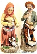 2 Home Interiors Homco Porcelain Farmer Old People Figurines 1417