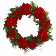 Artificial 36 Red Poinsettia And Pine Winter Holiday Christmas Wreath