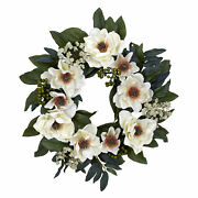 Artificial 22 Magnolia White Silk Flowers Berries And Leaves Floral Wreath