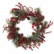 Artificial 24 Assorted Red Berry Pine And Pine Cone Christmas Holiday Wreath