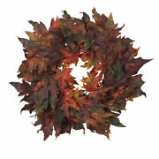 Artificial 30 Maple Leaf Autumn Fall Thanksgiving Colors Wreath