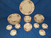 1940s Rosenthal Continental Ivory Bavaria 38 Pcs Floral Plates, Cups And Saucers