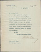 W. Wilson 1917 Signed Letter On Whitehouse Stationary About The Refugees Wlm6513