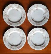 4 Stansbury Federal Shape Syracuse Fine China 10dinner Plates Made In Usa-ivory