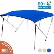 4 Bow Boat Bimini Tops Boat Canopy Boat Shade With Support Pole Boot Blue 91-96